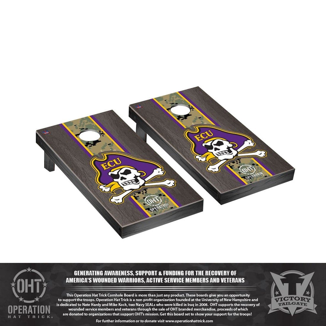 Victory Tailgate Operation Hat Trick East Carolina ECU Pirates Regulation Cornhole Game Set Onyx Stained Stripe Version by Victory Tailgate (Image #1)