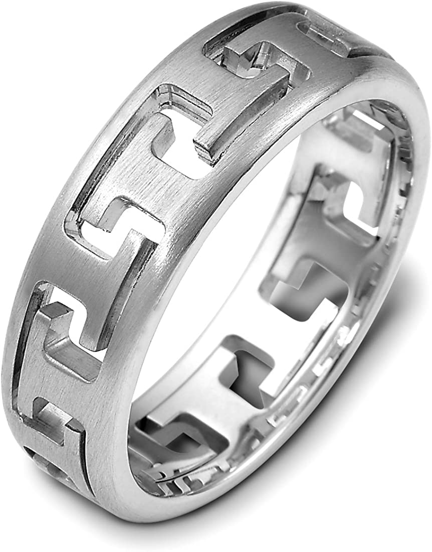 Mens Sterling Silver 6.5mm Puzzle Comfort Fit Wedding Band Ring
