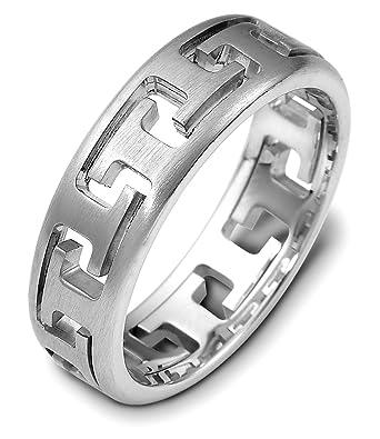 Mens 18k White Gold Puzzle Ring 6 5mm Wedding Band Amazon Com