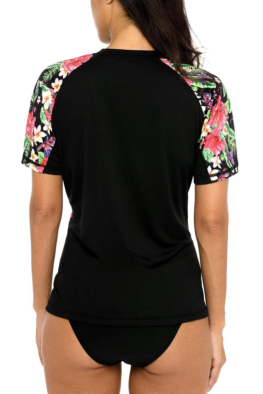 Vegatos Women Blask Swim Shirt Short Raglan Sleeve Rash Guards Floral Swimwear by Vegatos (Image #2)
