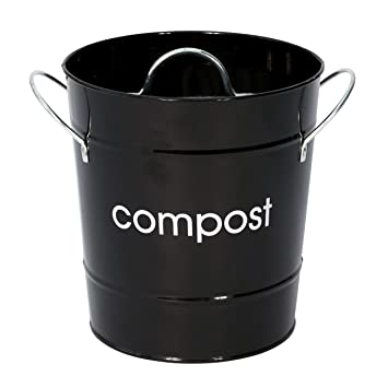 Premier Housewares Cubo para compost, color negro