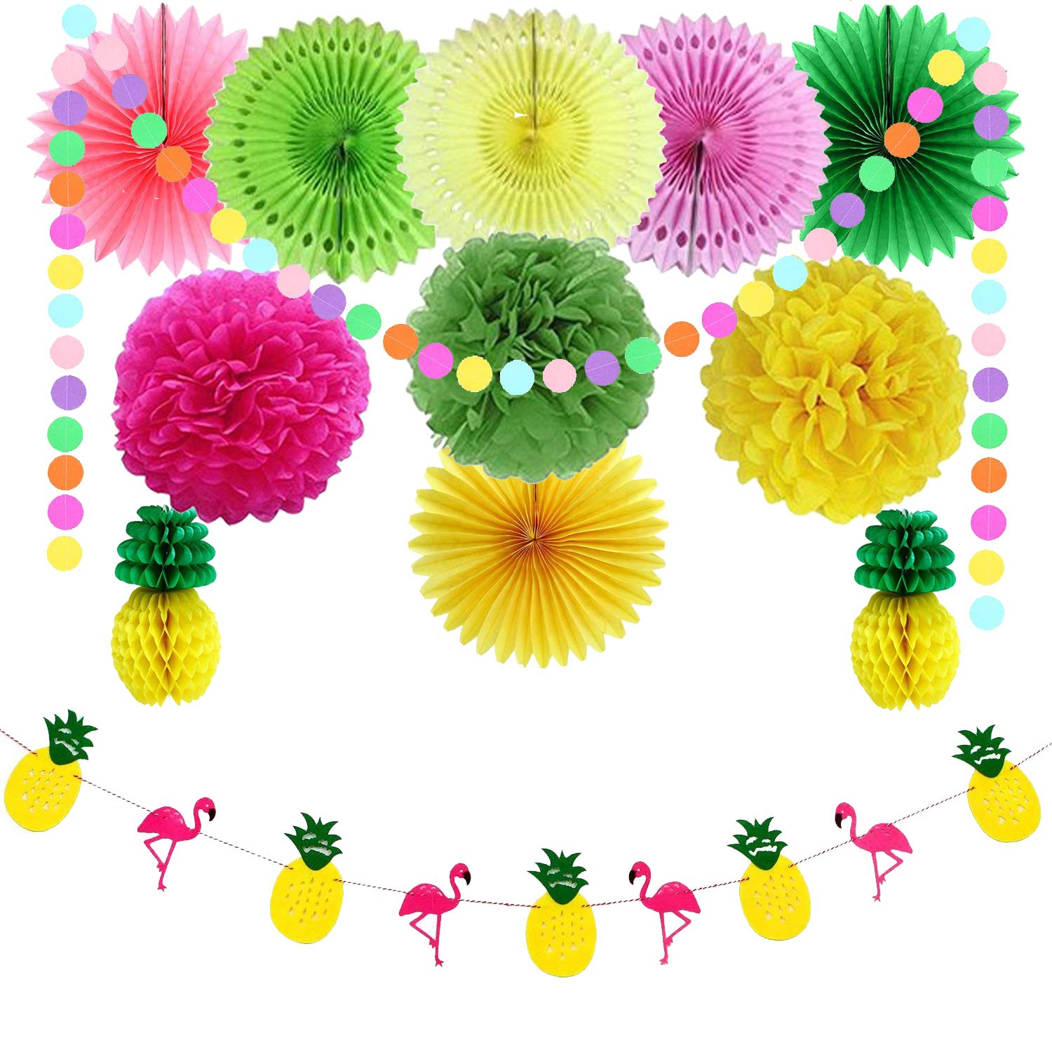 Fiesta Party Decorations, Mexican Cinco De Mayo Carnival Decoration- Pom Poms Paper Fans Honeycomb Balls Circle Dot Garland for Birthday Graduation Baby Shower Wedding Home Decoration(29 PES) (Set Ⅰ) Bwealthest