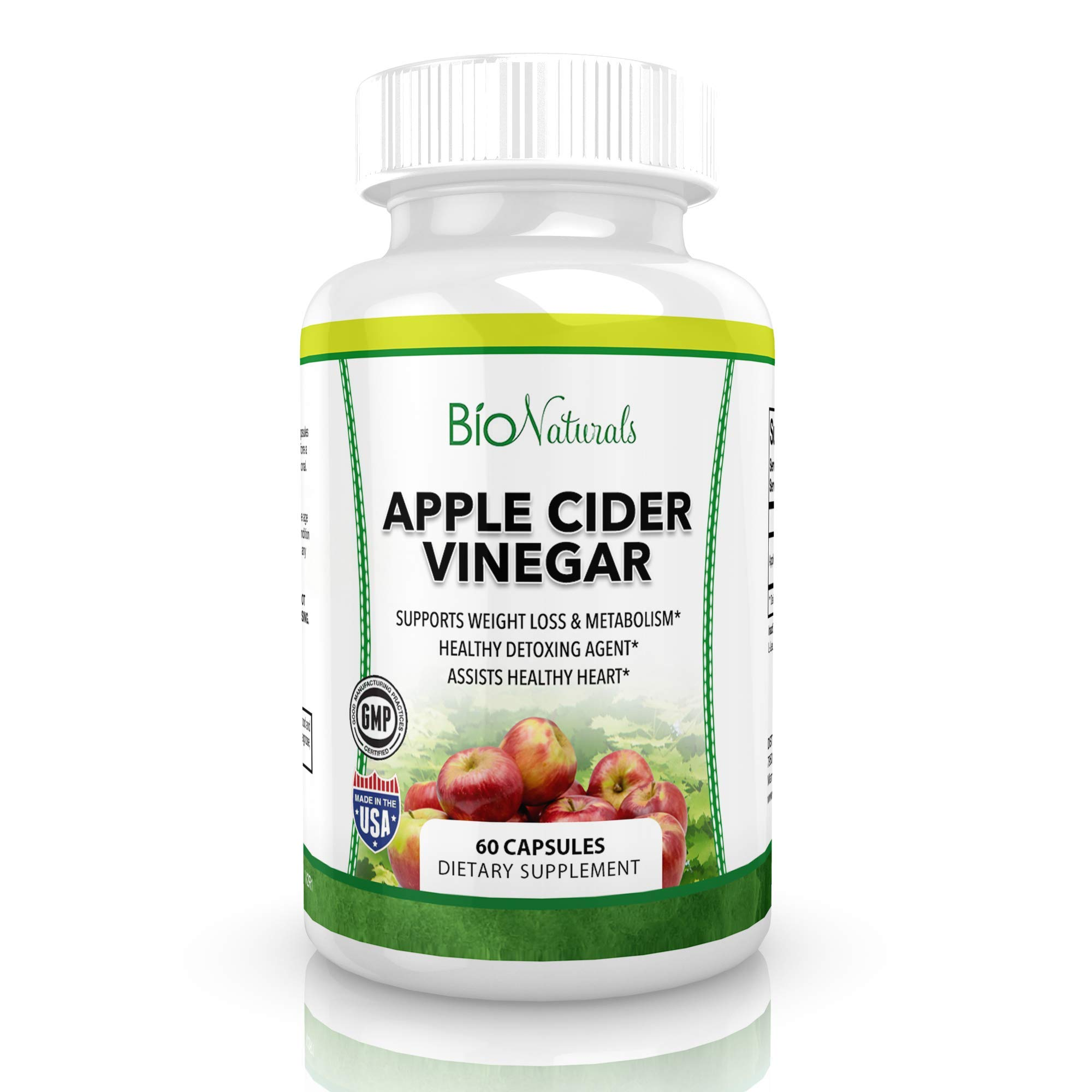 Apple Cider Vinegar 1300mg - All Natural Supplement Promotes Weight Loss with Healthy Detoxing, Suppresses Appetite and Improves Digestion - 60 Capsules