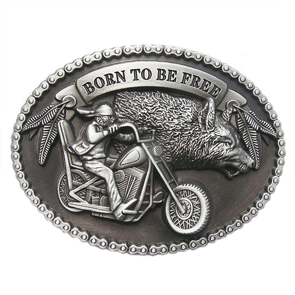 Vintage Born to Be Free Motorcycle Biker Rider Oval Belt Buckle Gurtelschnalle