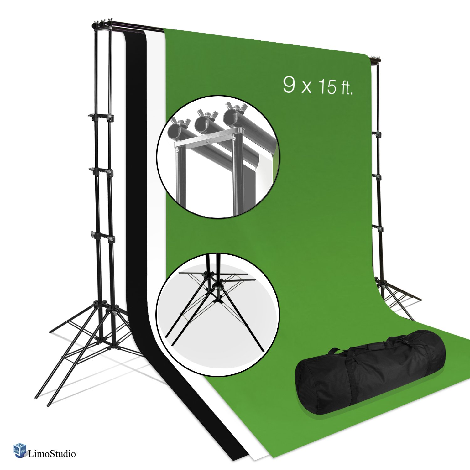 LimoStudio Photo Video Studio 6 Legs Background Stand Backdrop Support System Kit with Carry Bag for Photography, Black, White, Green, Premium Quality Backdrop, AGG2671 by LimoStudio