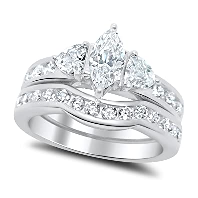 Amazon Com Marquise Trillion Cz Wedding Ring Set In Sterling Silver