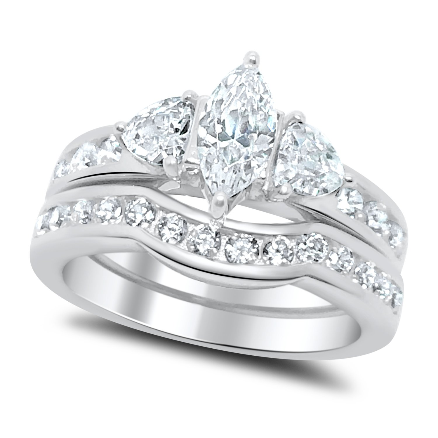 Marquise Trillion CZ Wedding Ring Set in Sterling Silver 10