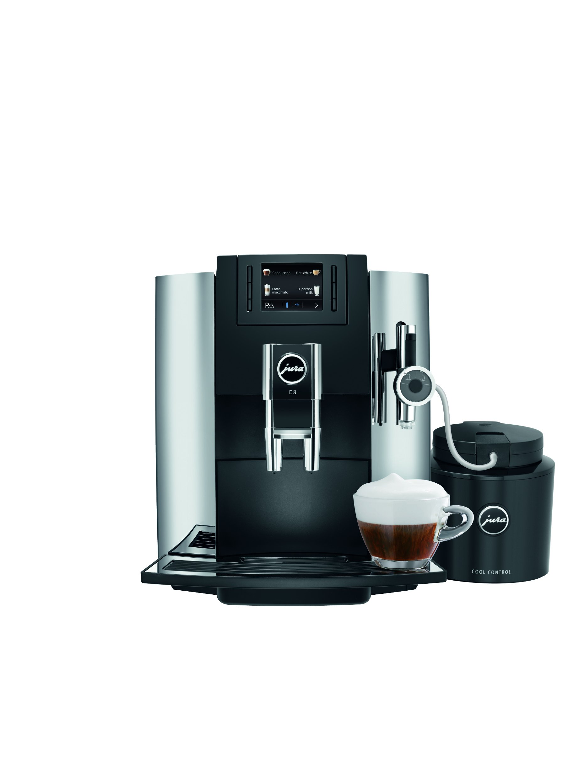 Jura 15097 E8 Espresso Coffee Machine, 28 cm x 35 cm x 35.1 cm, Chrome by Jura