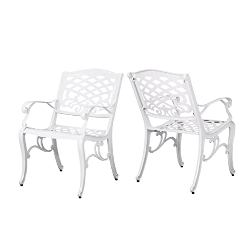Christopher Knight Home 305314 Brody Outdoor White Cast Aluminum Arm Chair Set of 2