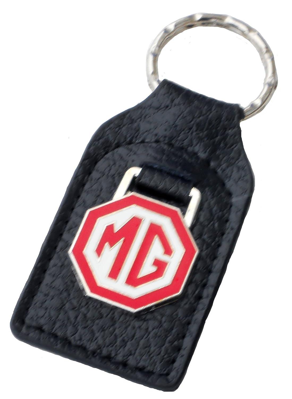 Triple-C MG (MGB) Red White Leather and Enamel Key Ring Key Fob