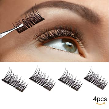 975b48084ef Amazon.com : Magnetic False Eyelashes for Natural Look - No Glue, Double  Magnet, Easy to Apply - 3D Reusable Mink Eyelash Extensions.Premium Fake  Lashes Set ...