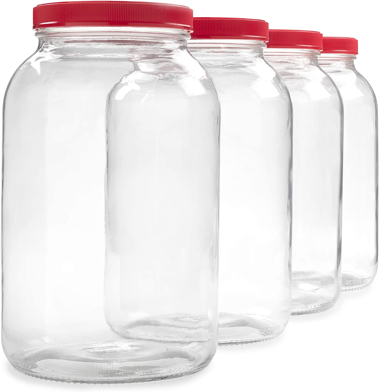 4 Pack - 1 Gallon Glass Jar w/Plastic Airtight Lid, Muslin Cloth, Rubber Band - Made in USA, Wide Mouth Easy to Clean - BPA Free - Kombucha, Kefir, Canning, Sun Tea, Fermentation, Food Storage