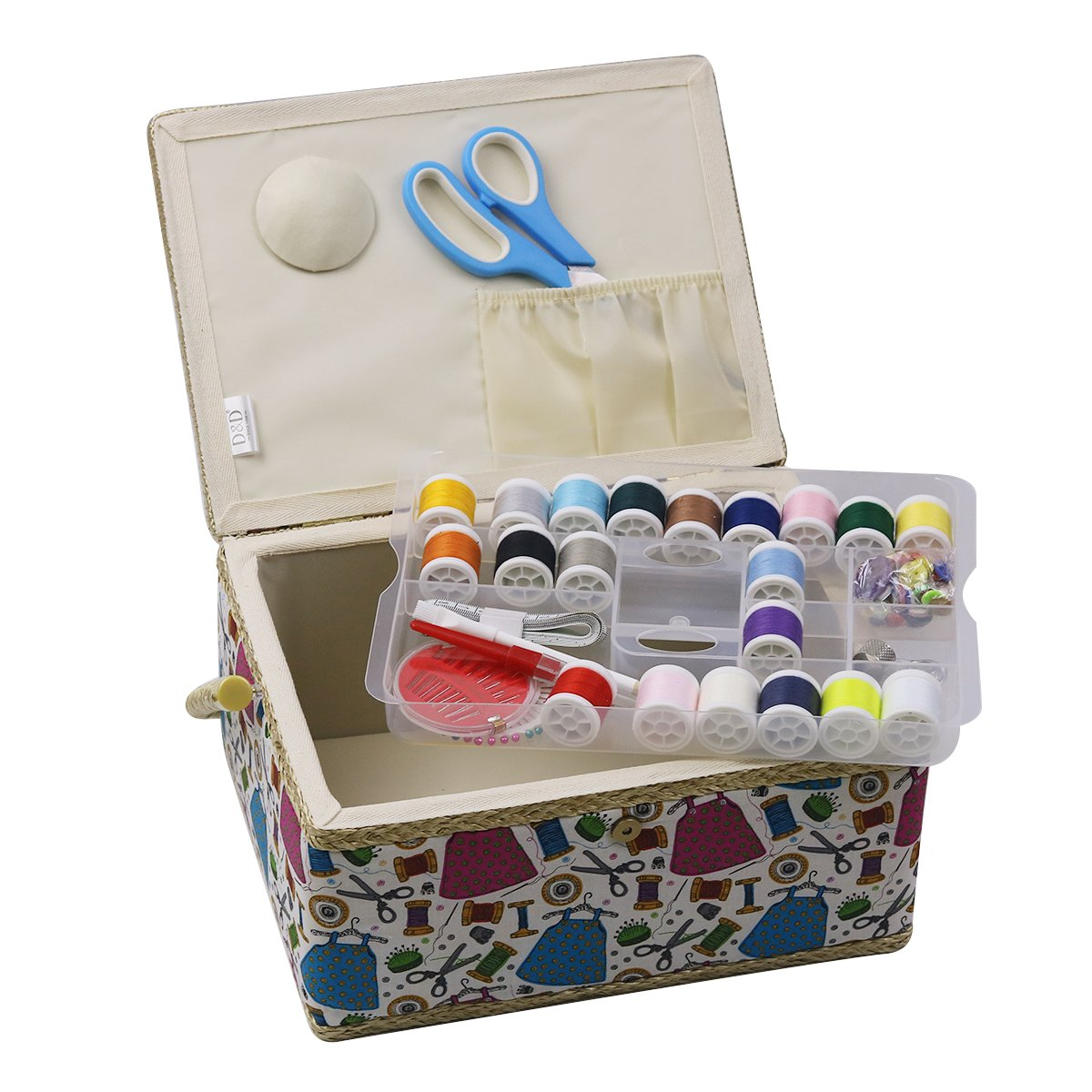 D/&D Large Sewing Box Organizer with Sewing Kit Accessories Sewing Basket