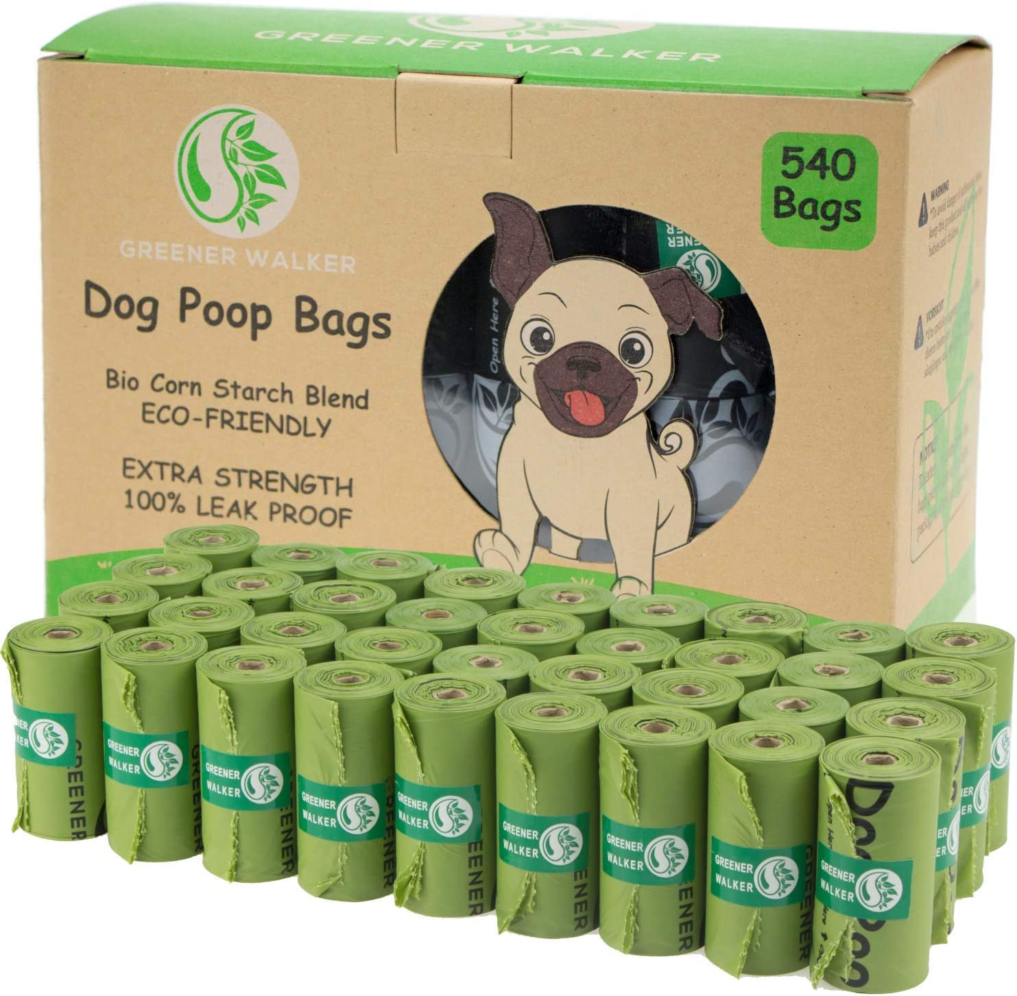 Greener Walker Poop Bags for Dog Waste-540 Bags,Extra Thick Strong 100% Leak Proof Biodegradable Dog Waste Bags