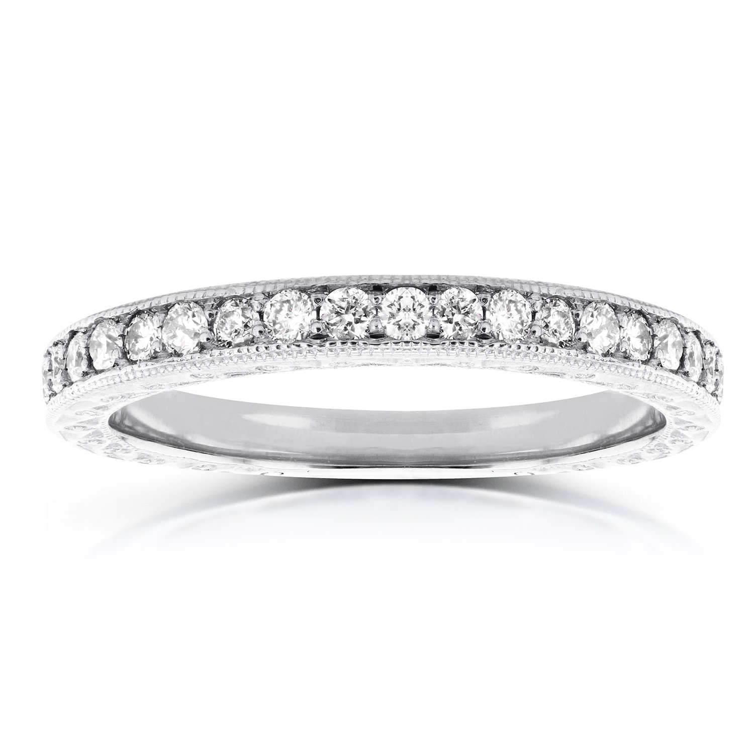 Round Diamond Antique Band 1/3 CTW in 14k White Gold, Size 6.5 by Kobelli