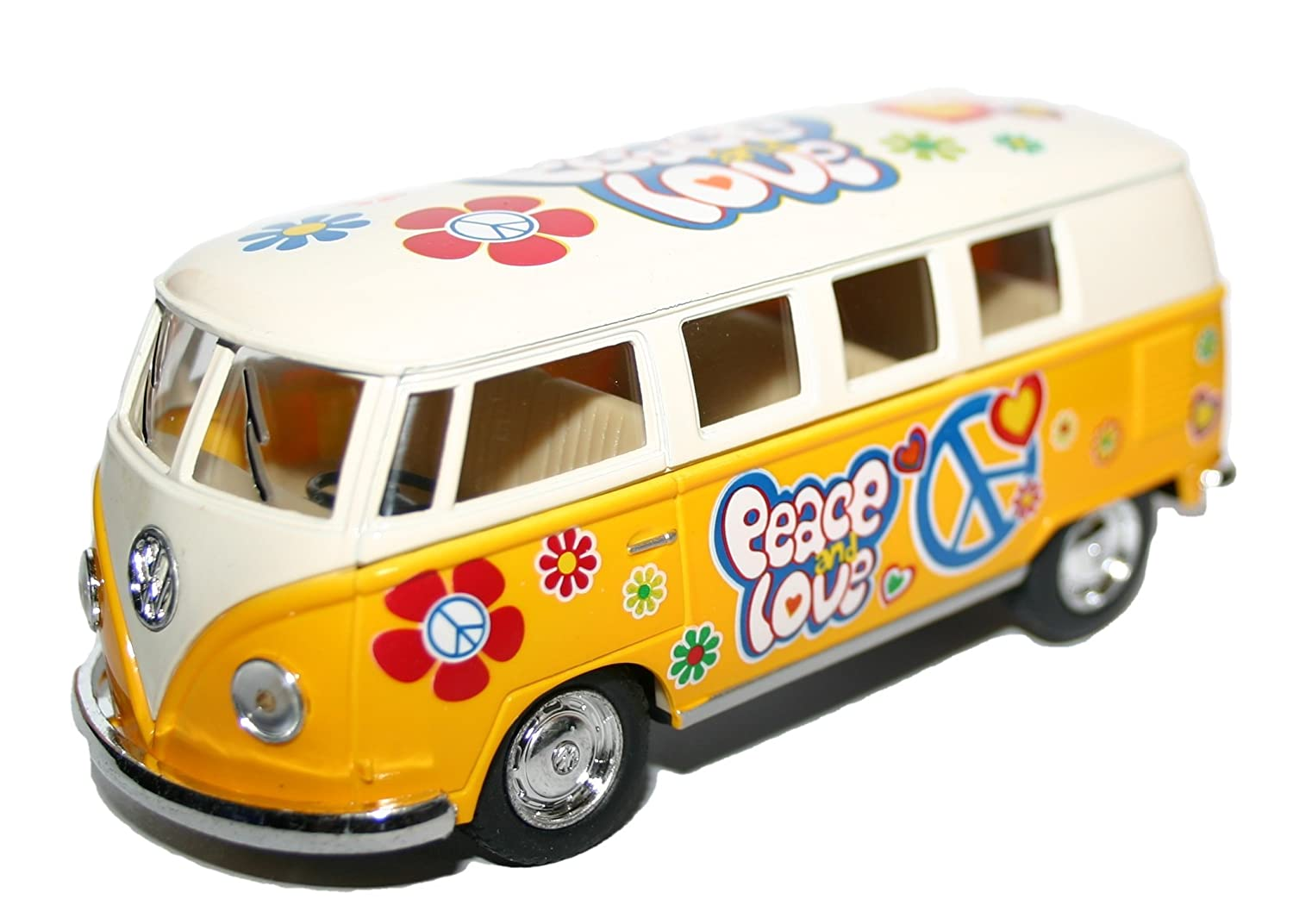 Latest for 2015 Xmas Christmas Stocking Filler Top Up Gift Idea Toys & Games Age 3 +, Girl Child Girls Children - Collect Them - Yellow Flower Power VW T1 Bus 1963 Model Car Vehicle with Pull Back - One Supplied Kinsmart