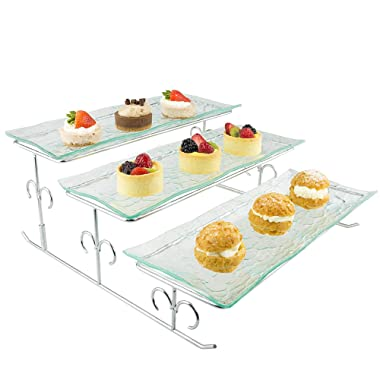 3 Tier Server - Tiered Serving Platter Stand & Trays - Perfect for Cake, Dessert, Shrimp, Appetizers & More