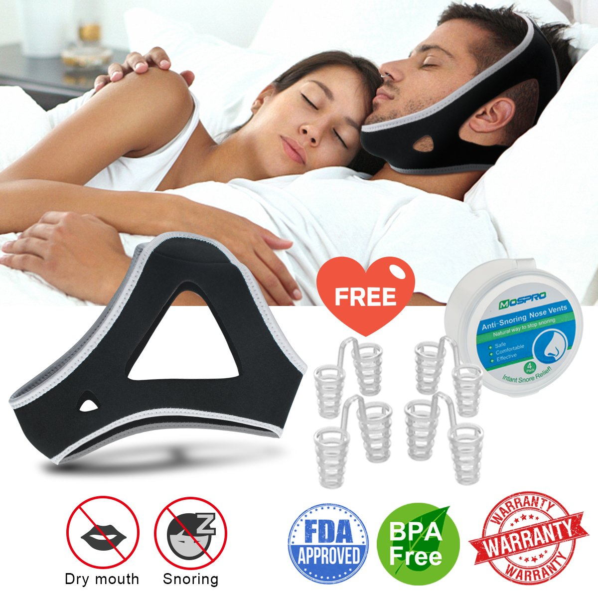 Anti Snoring Chin Strap for Men and Women, Ajustable Stop Snoring Solution with Nose Vents Anti Snoring Devices Sleep Aids Snore Stopper Chin Straps for Snoring Sleeping Mouth Breathers