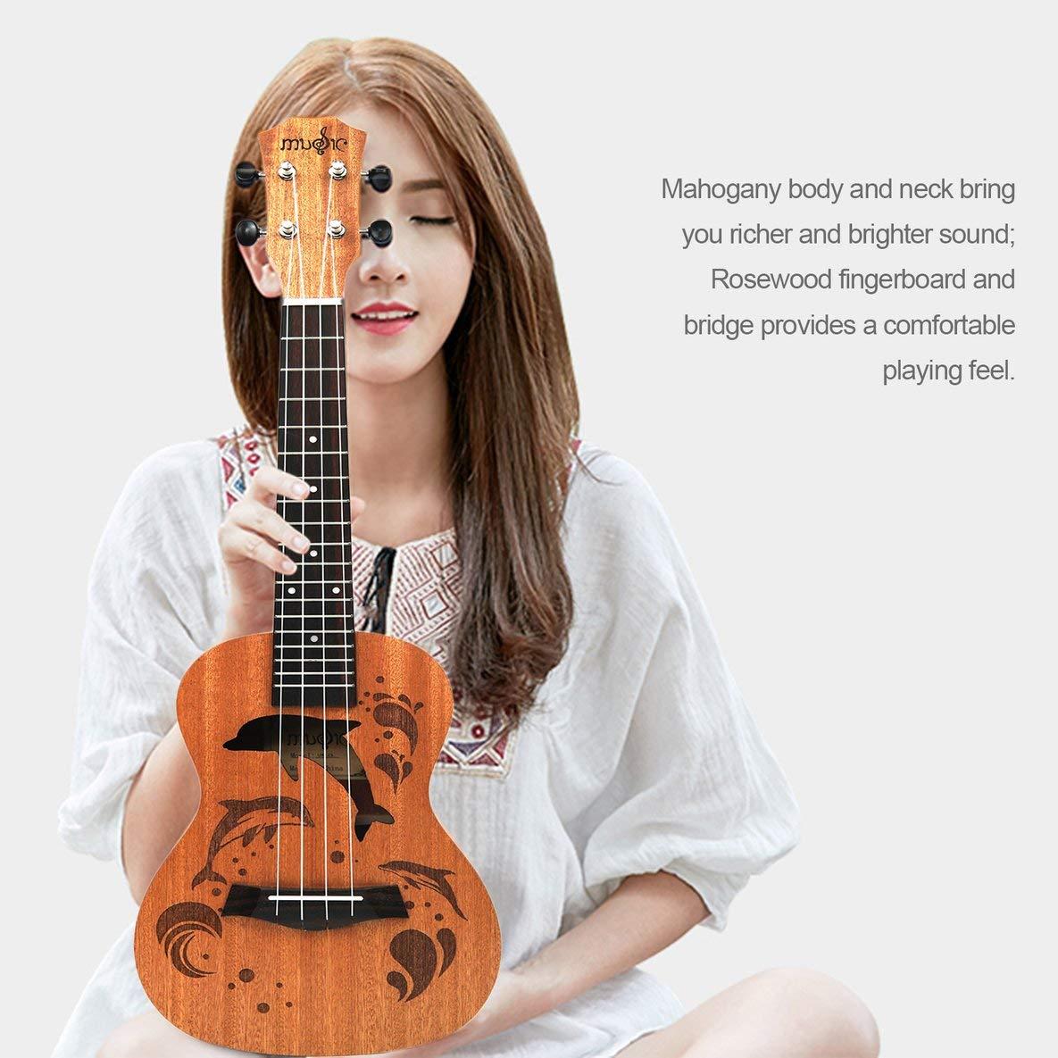 Noradtjcca Professionnel Mod/èle Dauphin Ukul/él/é Soprano Uke Hawaii Guitare Sapele 4 Cordes en Bois Ukul/él/é Instruments De Musique pour D/ébutant