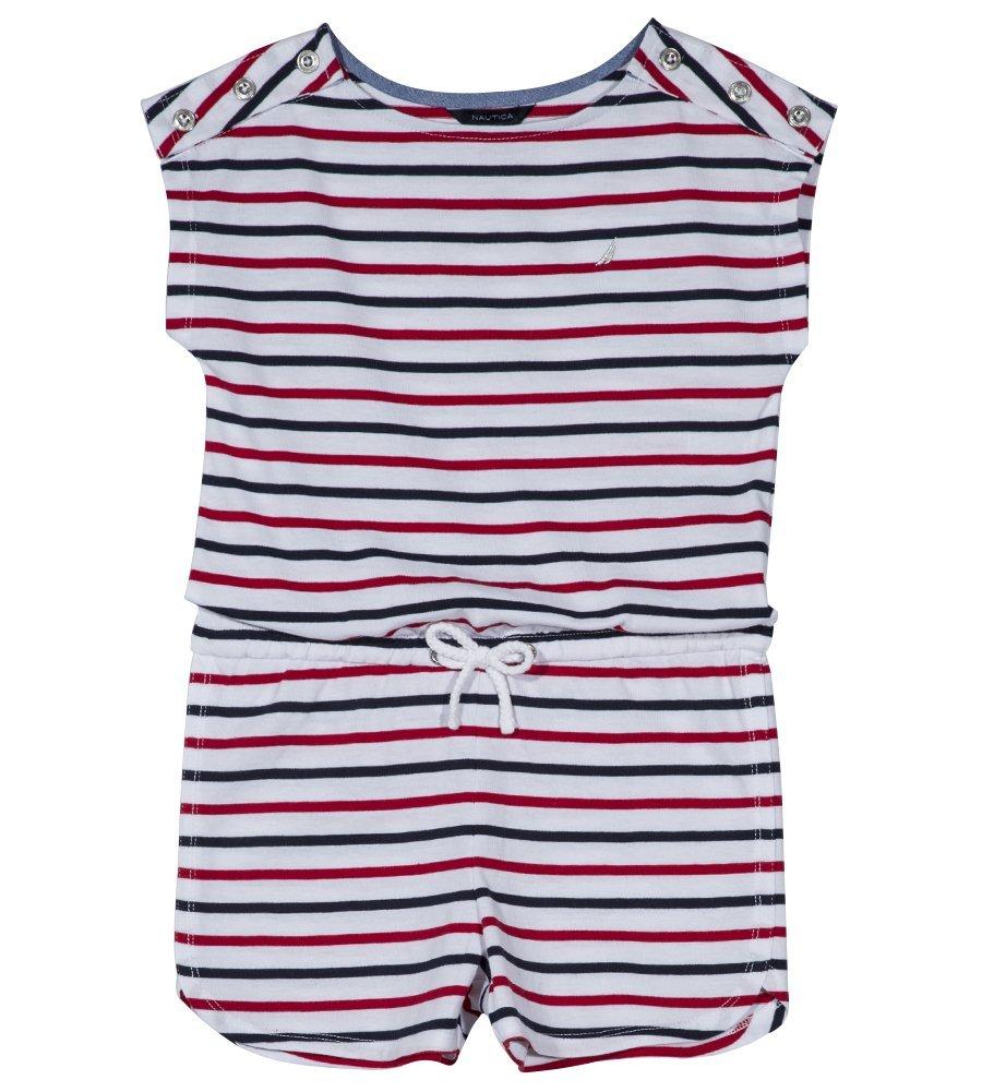 Nautica Girls' Big Fashion Romper, Patriotic Stripe White, Large (12/14)