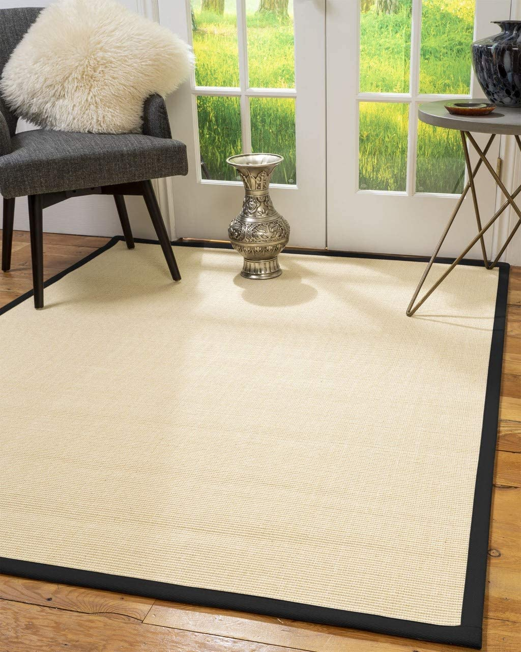 Natural Area Rugs 100 Natural Fiber Handmade Deco, Beige Sisal Rug, 8 x 10 Black Border