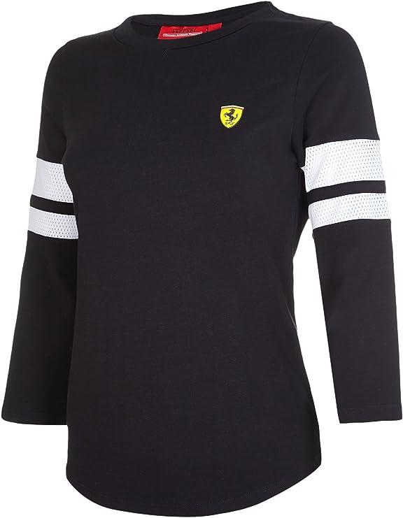 Nuevo. 2017 Scuderia Ferrari para mujer carrera de señoras 3/4 Camiseta de manga tamaños 6 A 16., negro: Amazon.es: Deportes y aire libre