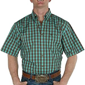 Men's Wrangler Khaki And Green Plaid Short Sleeve Shirt (LARGE)