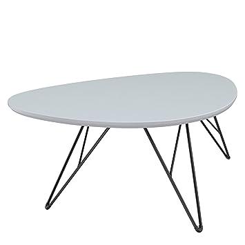 Bonvivo Design Couchtisch Ray Beistelltisch Nierentisch Im 50er Jahre Retro Look In Weiss Grau Und Metall Fussen In Schwarz Black 60 X 40 Cm