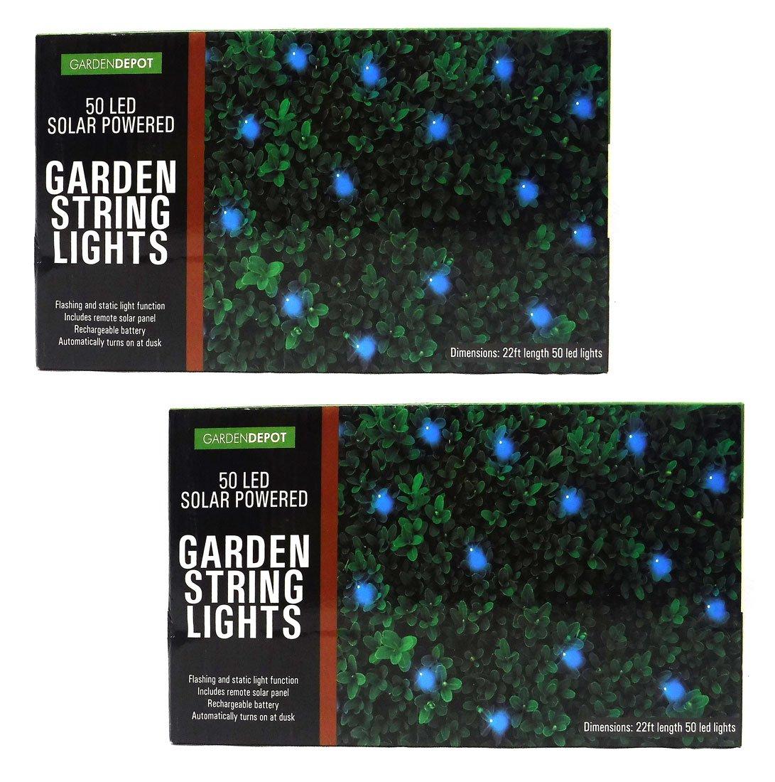Blue Solar Powered LED String Lights - Pack of 2