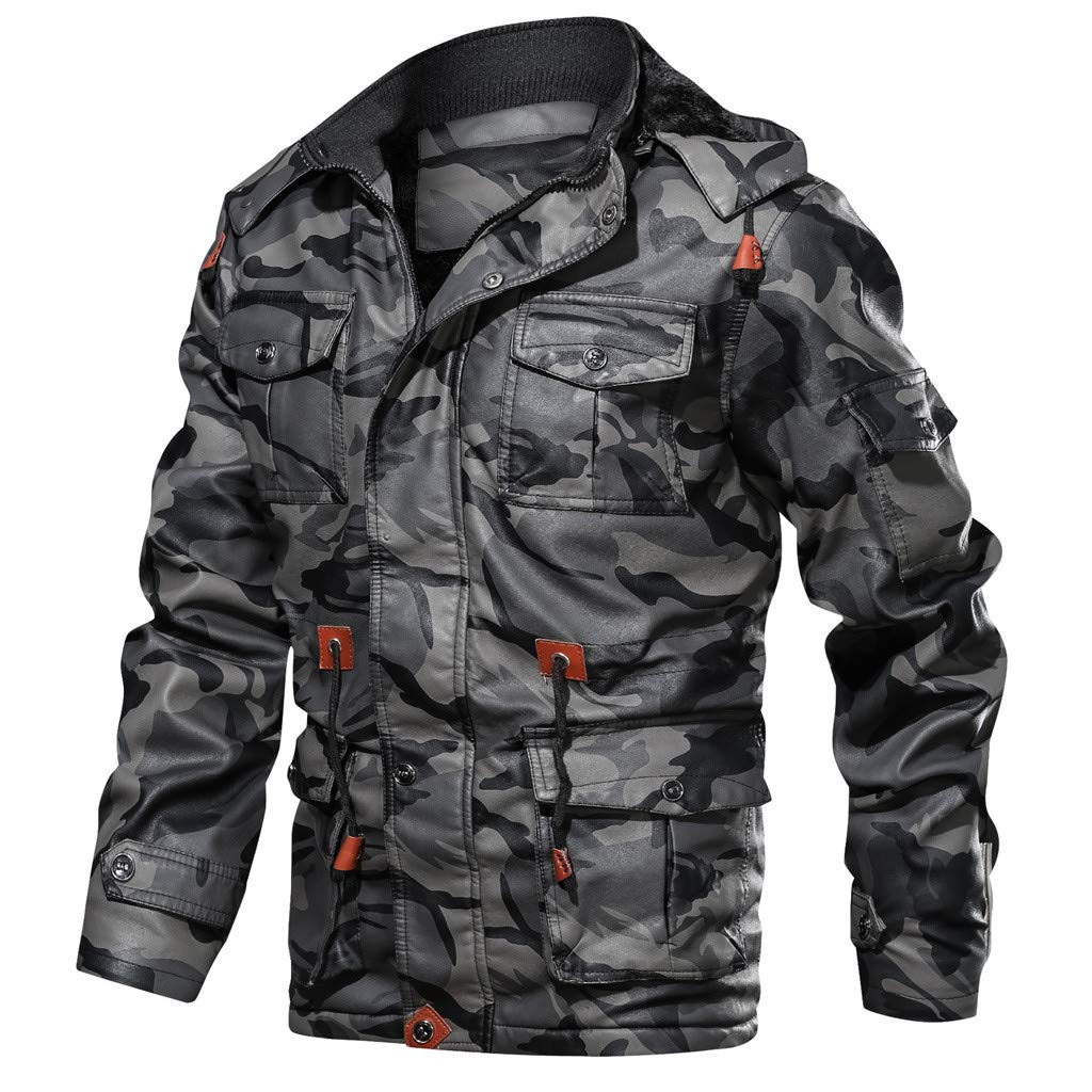 Men Camouflage Jacket, NDGDA Male Vintage Plus Velet Warm Autumn Winter Zipper Hoodie Drawstring Coat by NDGDA 🔰 Men's Jacket & Coat