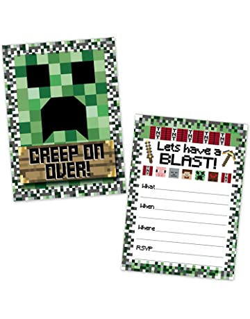 Pixel Mining Birthday Party Invitations For Kids 20 Count With Envelopes