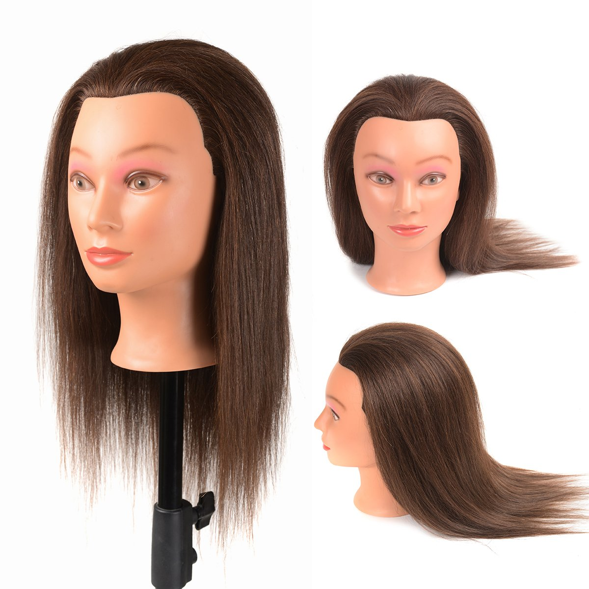 16'' Mannequin Head 40% Real Human Hair Cosmetology Mannequins for Training with Free Clamp Holder Brown