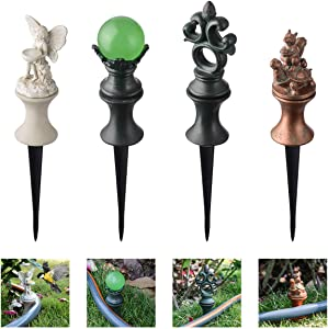 XCSOURCE Garden Hose Guide Stake Garden Gard Hose Spike Lawn Hose Support Spike Plant Saver Tool for Garden Lawn Yard Antique Metal Hose Guard Stakes, 4PCS