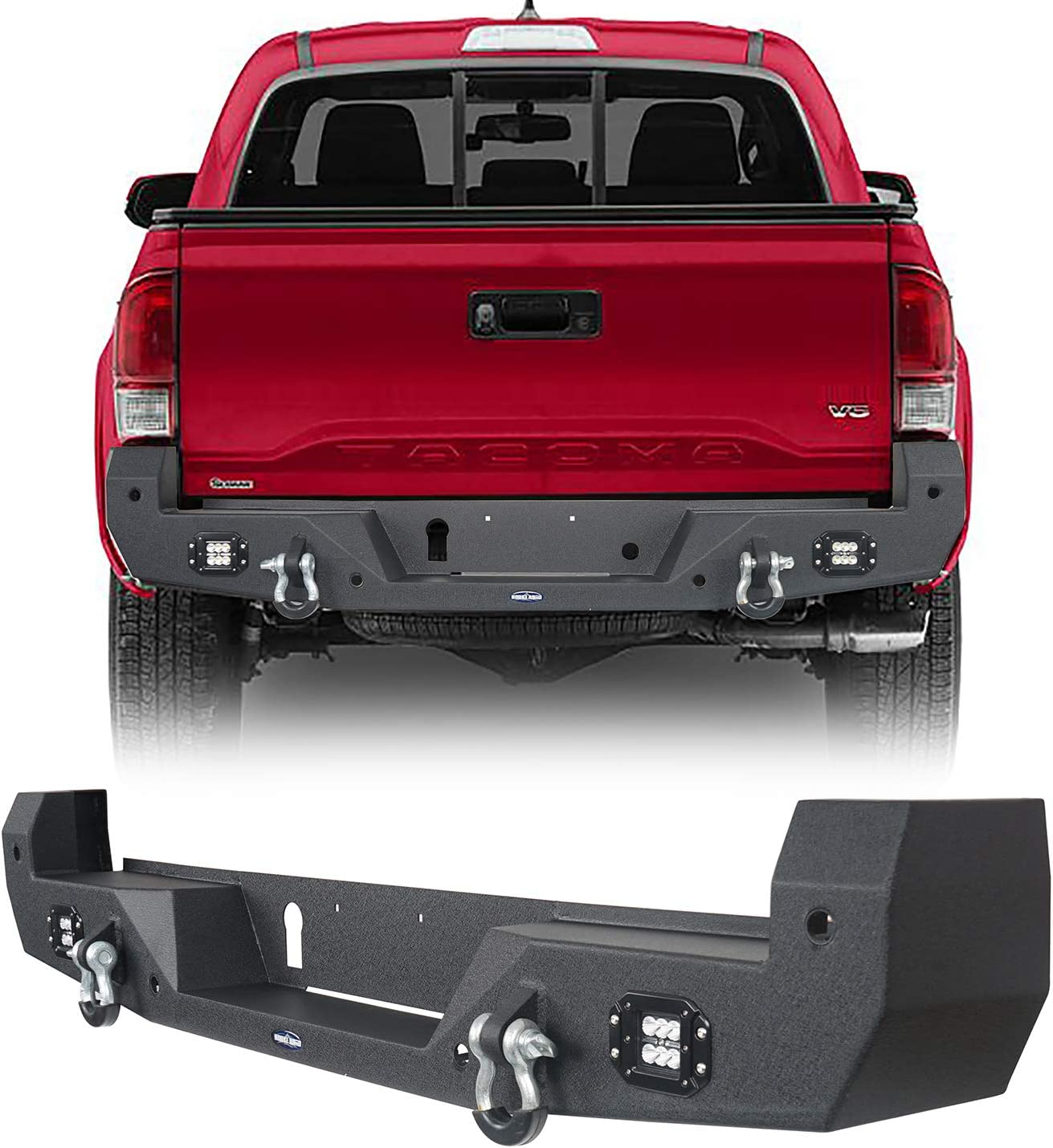 Hooke Road Tacoma Rear Back Steel Bumper w//2 /×18W LED Floodlights /& D-rings Compatible with Toyota Tacoma 2016 2017 2018 2019 2020 2021 Pickup Truck