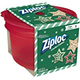 Ziploc Limited Edition Holiday Colored Storage Containers with Lids (Large Round, Red)