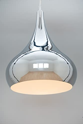 Modern designer teardrop ceiling pendant light chrome 34cm modern designer teardrop ceiling pendant light chrome 34cm amazon lighting aloadofball Images