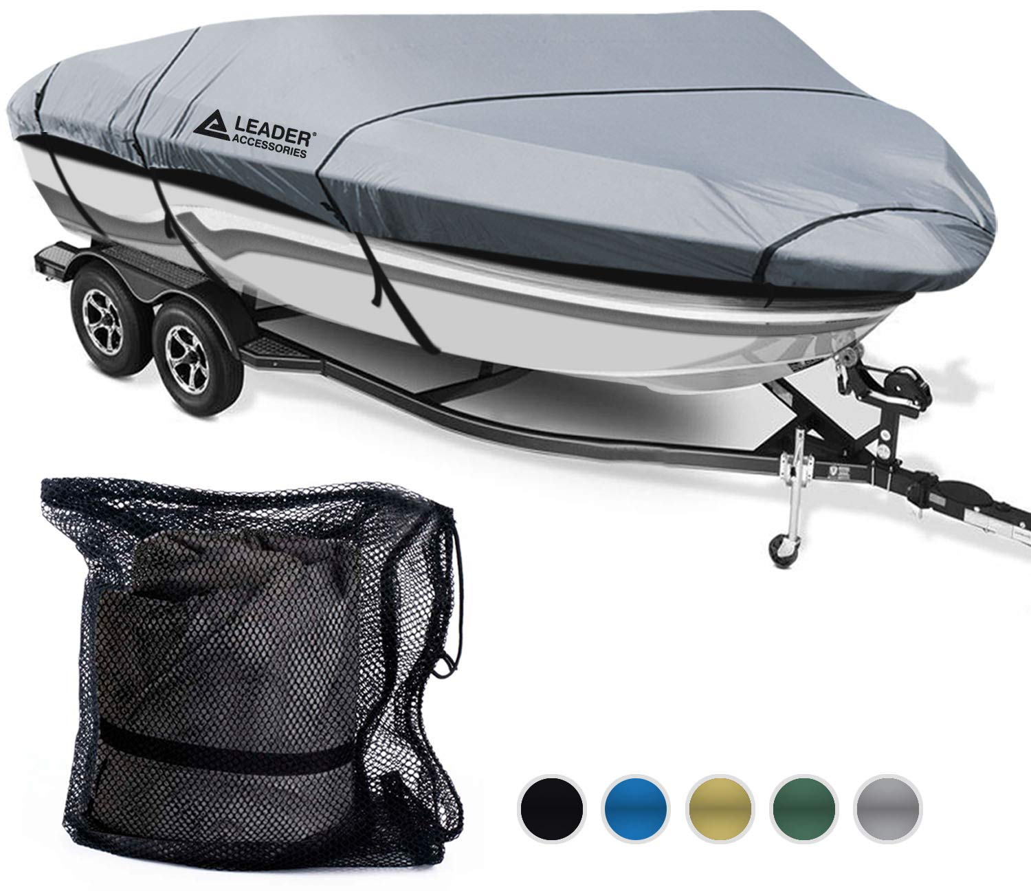 Leader Accessories 600D Polyester 5 Colors Waterproof Trailerable Runabout Boat Cover Fit V-Hull Tri-Hull Fishing Ski Pro-Style Bass Boats,Full Size (16'-18.5'L Beam Width up to 94'', Grey) by Leader Accessories
