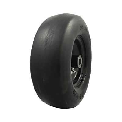 "MARASTAR 00232 Universal Fit Flat Free 11 x4.00-5 Lawnmower Tire Assembly, 3.4"" Centered Hub, 3/4"" Bushing : Garden & Outdoor"
