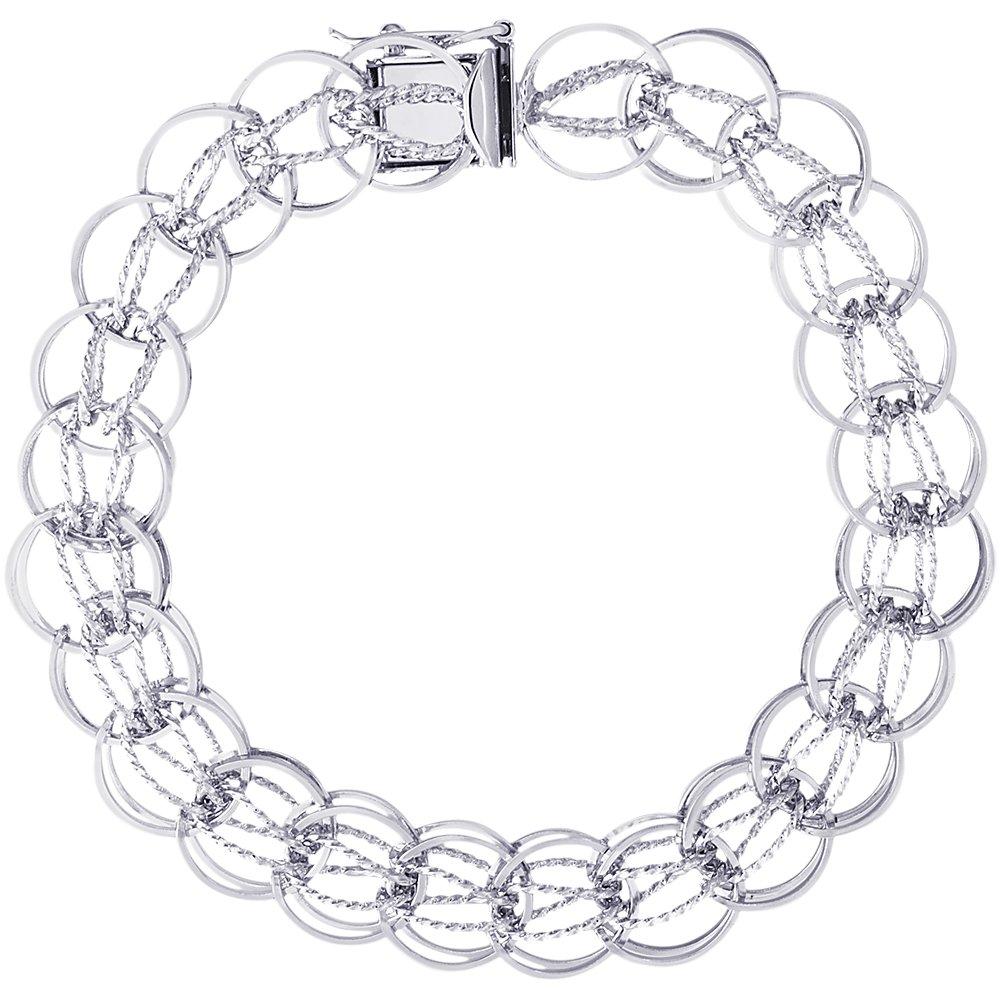 Sterling Silver Fancy Charm Bracelet, 7 inch, Charm Bracelets for Women & Girls