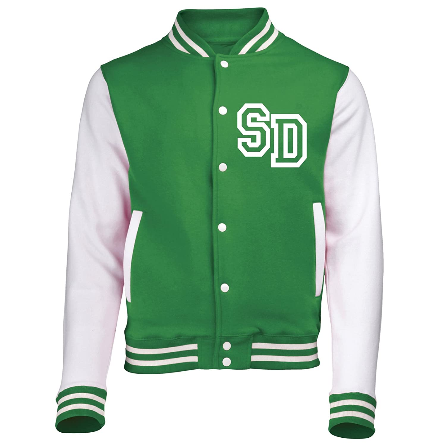 KIDS VARSITY JACKET WITH FRONT INITIAL PERSONALISATION (Kelly Green / White) NEW PREMIUM Unisex American Style Letterman College Baseball Custom Top Boy Girl Children Child Gift Present AWD - By 123t Fonfella