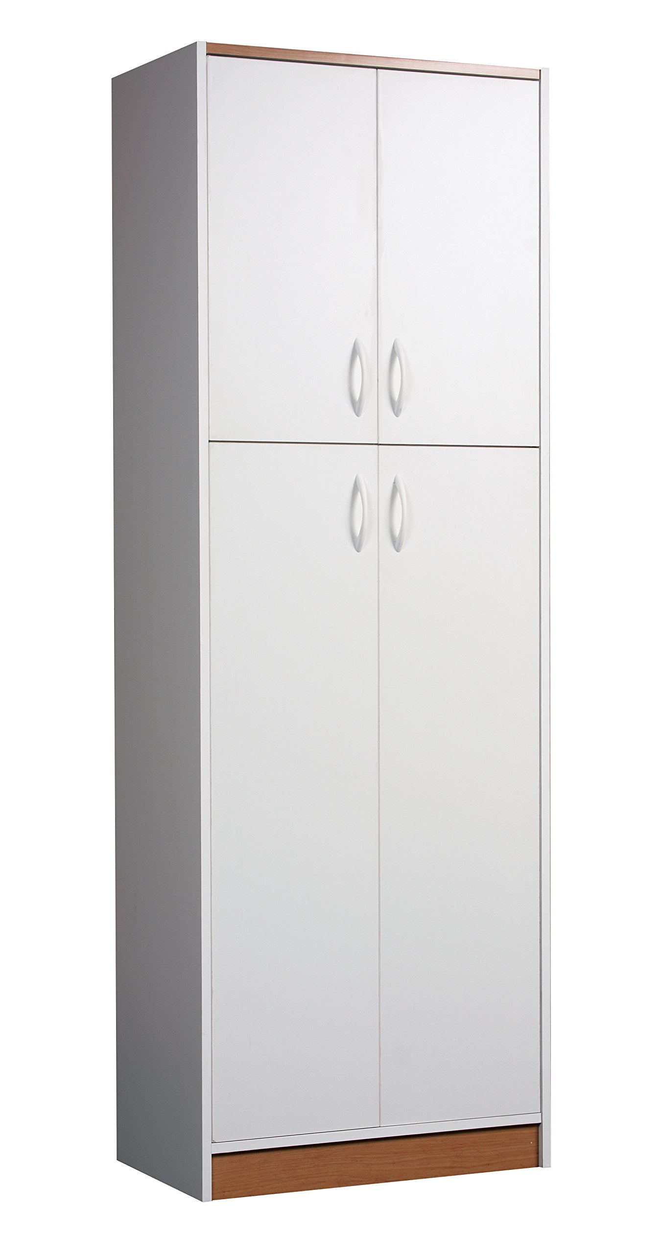Mylex Four Door Pantry, Two Fixed and Three Adjustable Shelves, 71.5 H x 24.32 W x 14.5 D Inches, White with Oak Accents, Assembly Required (42311) by Mylex