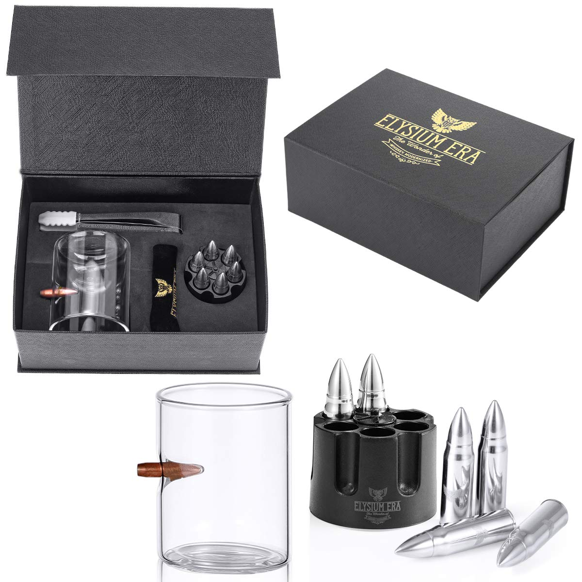 Whiskey Stones Gift Set - .308 Real Bullet embedded hand-blown Whiskey Glass, 6 XL Reusable Stainless Steel Bullet Shaped Chillers| Perfect Whiskey Gifts, Bourbon Tumblers, for Whisky Lovers by Elysium Era