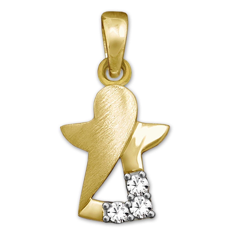 CLEVER SCHMUCK Goldener kleiner Anhänger 11 mm Engel innen offen, matt und glänzend mit 3 Zirkonias stilisiert 333 GOLD 8 KARAT ahg432