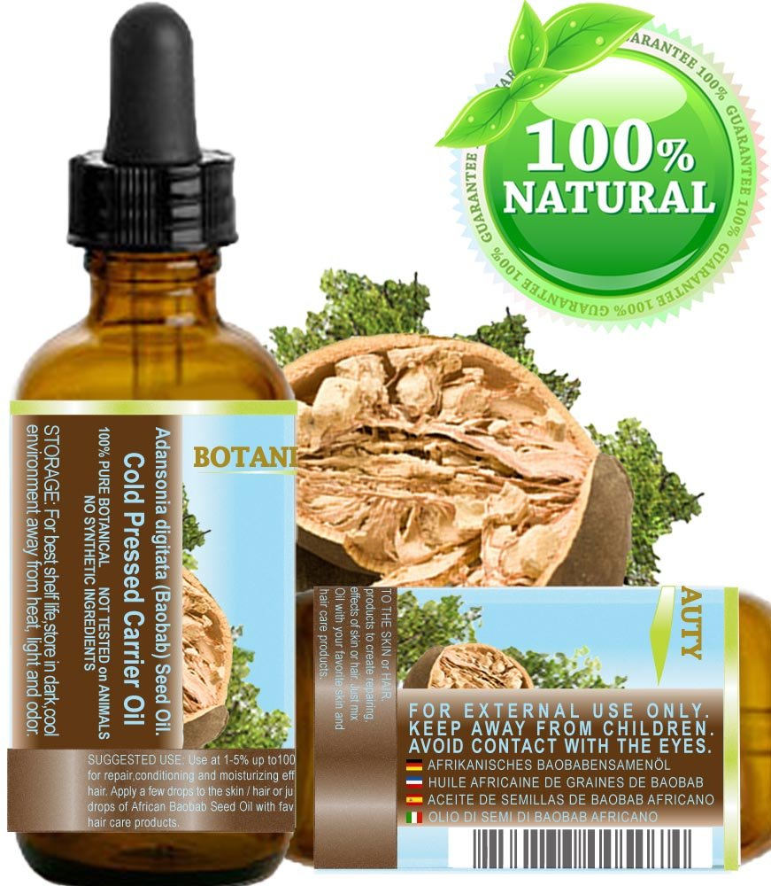 Baobab Oil African 100 Pure Natural Undiluted Refined Cold Pressed Carrier Oil For Skin Hair Lip And Nail Care 2 Fl Oz 60 Ml Beauty