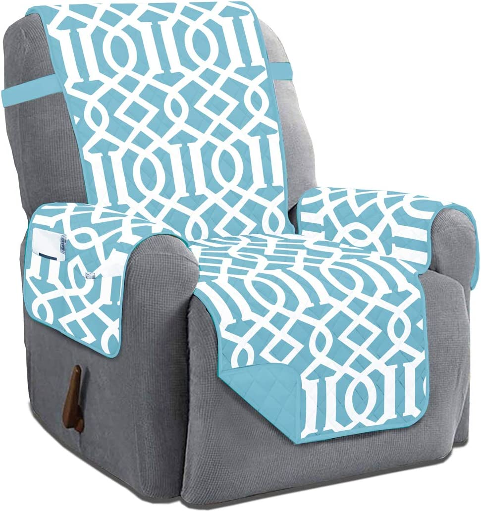 Dallas Reversible Solid/Print Microfiber Quilted Furniture Protector Slipcover with Strap & Side Pockets (Recliner, Turquoise)