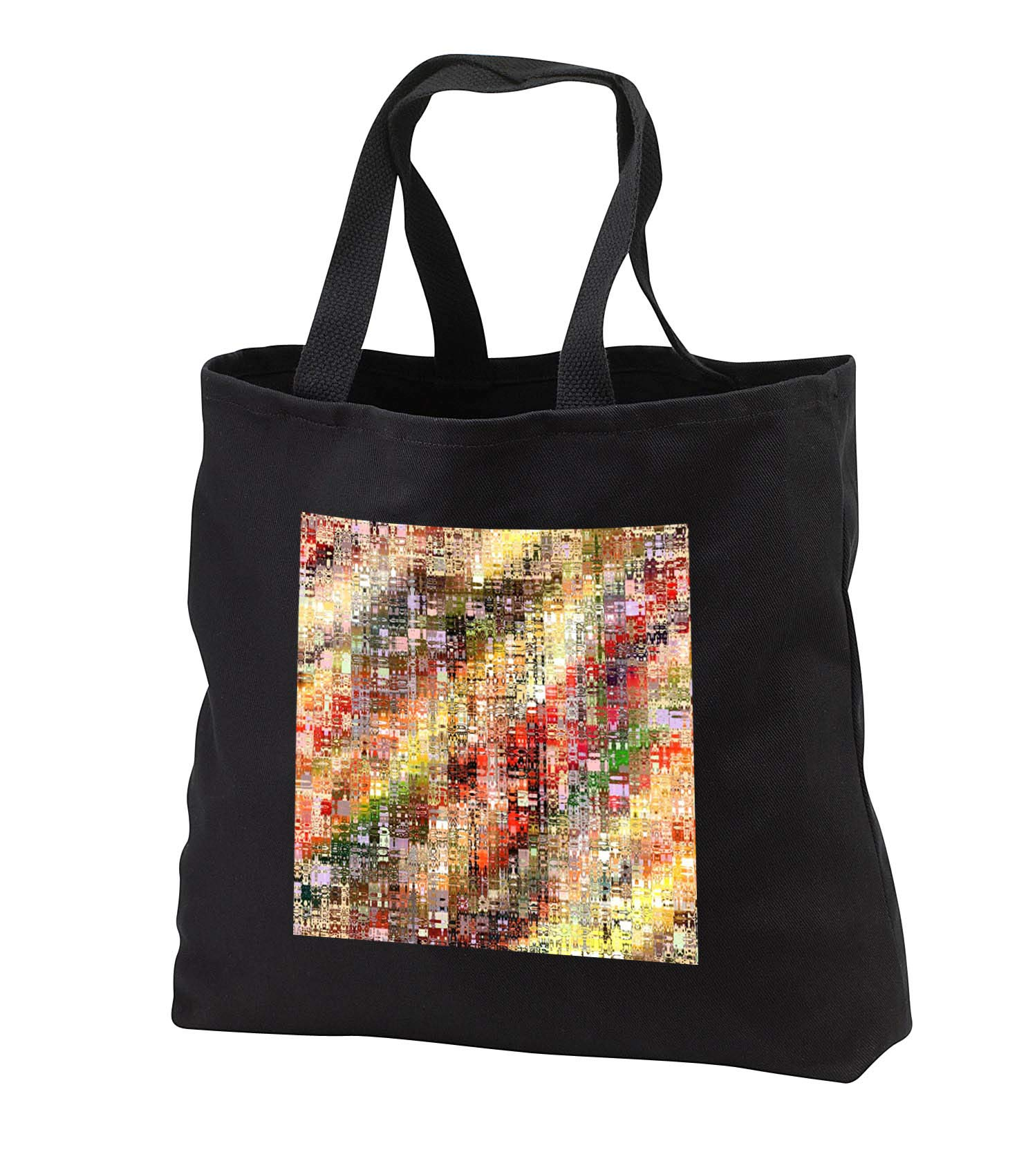 lens Art by Florene - Geometric Abstract - Image of Multicolor Painting On Glass - Tote Bags - Black Tote Bag 14w x 14h x 3d (tb_295112_1)