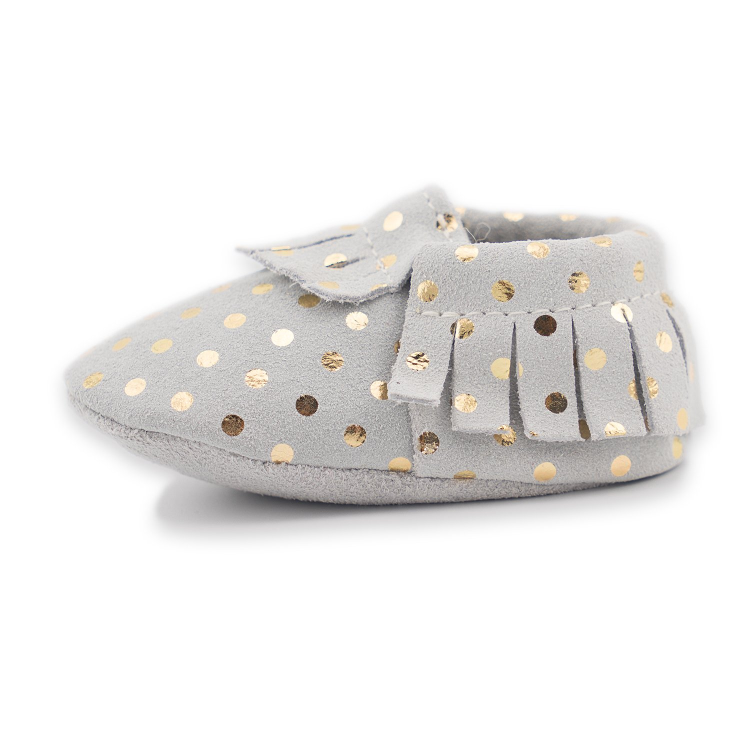 CoCoCute Baby Moccasins Soft Leather Sole Infant Shoes and Toddler Moccasins for Boys and Girls (0-6 Month, Gray and Gold) by CoCoCute