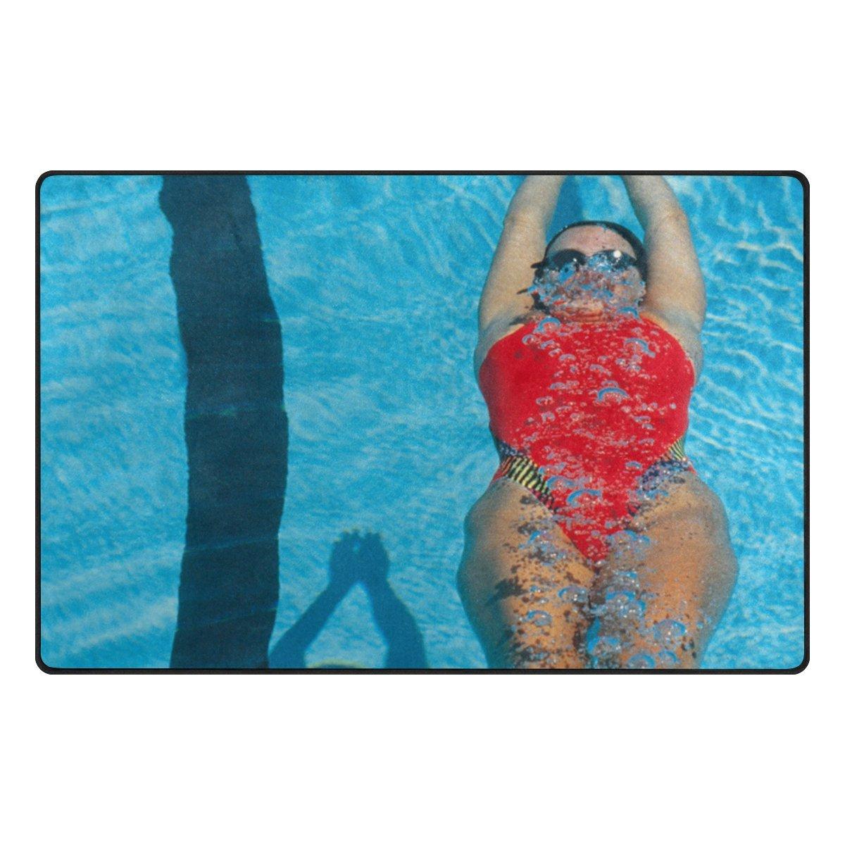 LEEZONE Women's Diving Swimming Printing Rectangle Floor Mat Carpet