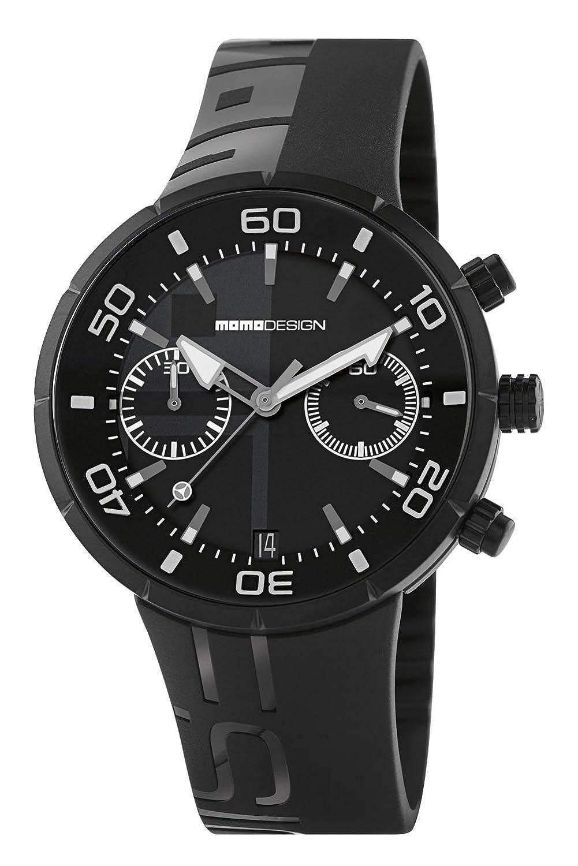 Momo Jet Black md2398bk-11 Herren Uhr mit Kautschuk-Armband Schwarz und Box aus Edelstahl in PVD Schwarz.
