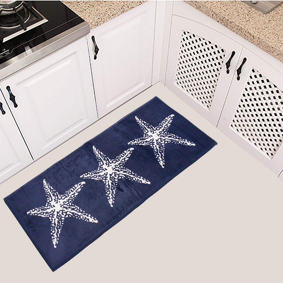 Jeteven Kitchen Floor Rug Door Mat Bath Mat Non-slip Runner Bathroom Carpet for Kitchen Bathroom Blue 45x115cm
